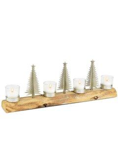 4er Teelichthalter auf Holz mit Tannen