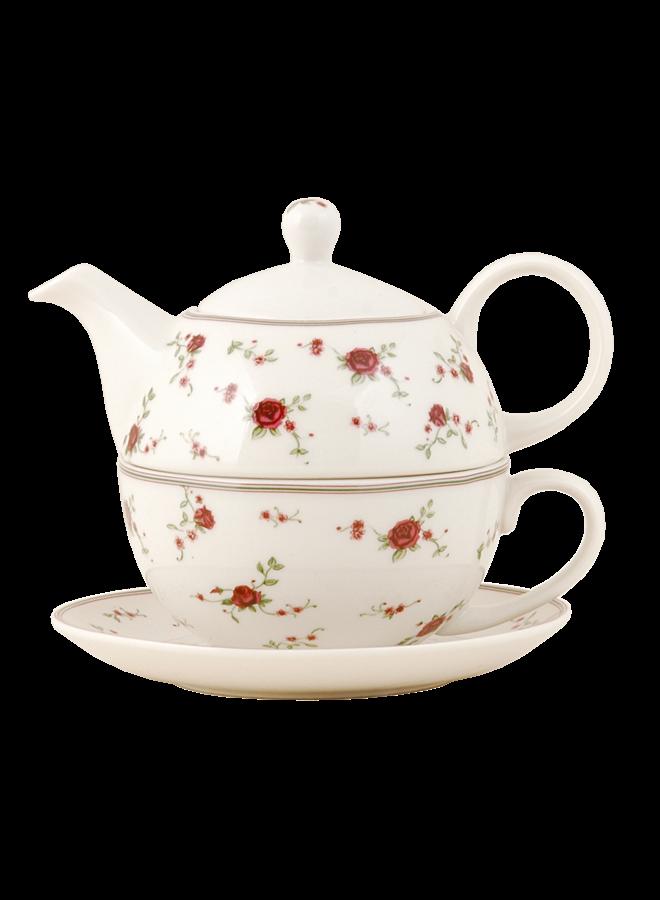 Teetasse mit Krugaufsatz und Unterteller -All in one Teeset