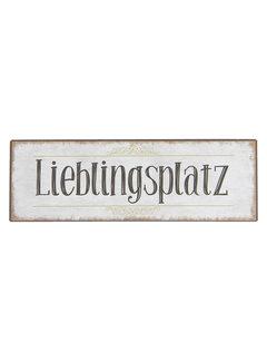 Clayre & Eef Blechschild Lieblingsplatz - 30 x 10cm