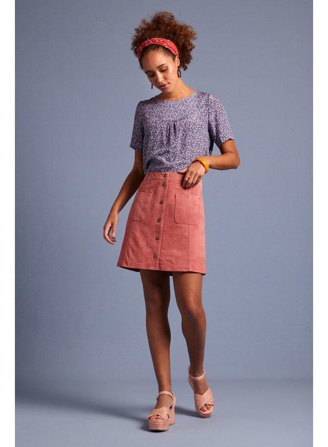 Lederrock   Garbo Mini Skirt Suede - Dusty Rose