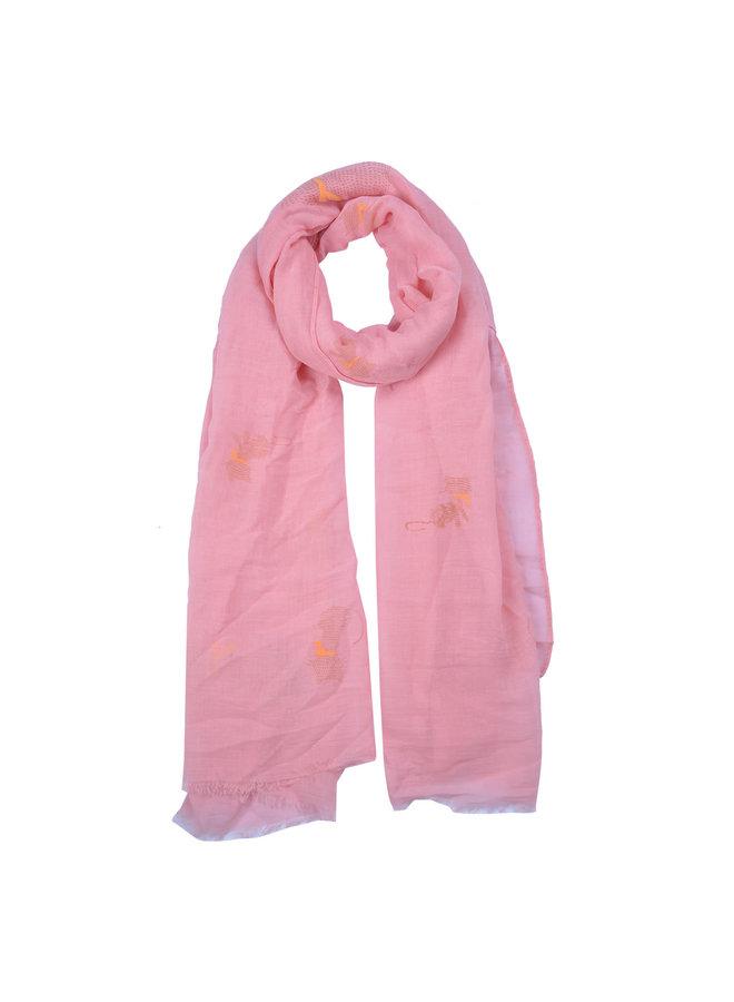 Schal mit Büsi - Rosa