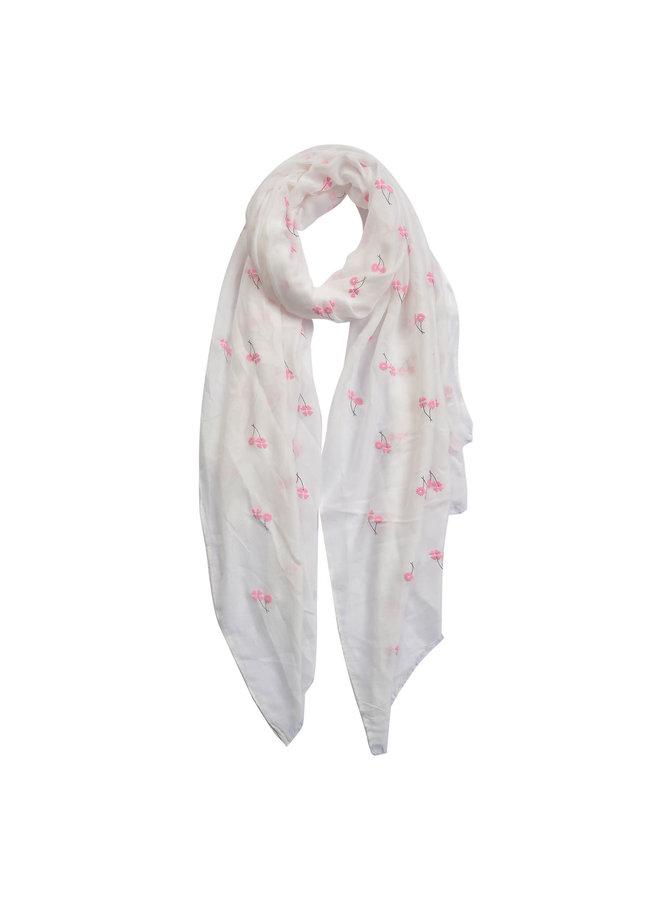 Schal mit Blumen - Weiss
