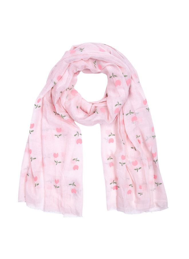 Schal mit Tulpe - Rosa