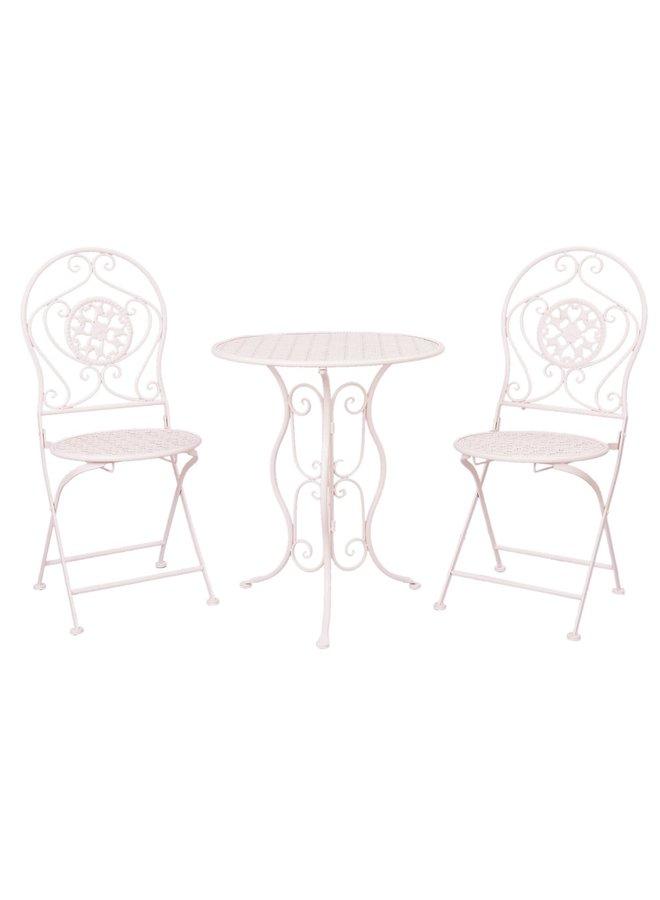 Gartentisch mit 2 Stühlen Shabby Chic - Cremeweiss