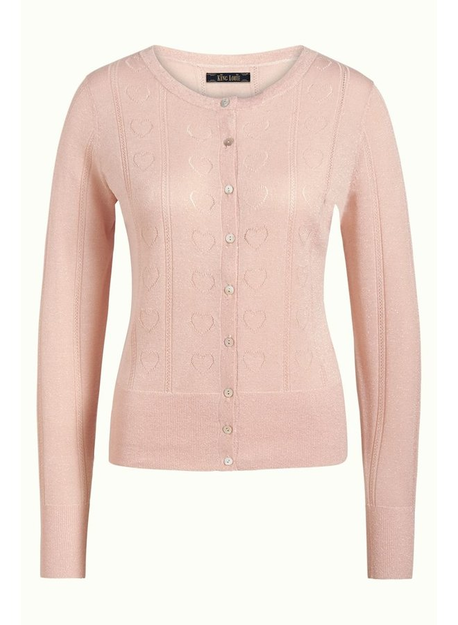 Cardigan | Cardi Roundneck Decor - Pale Pink