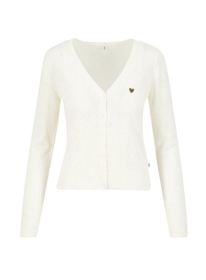 Cardigan | logo cardigan v-neck lang - white heart anchor