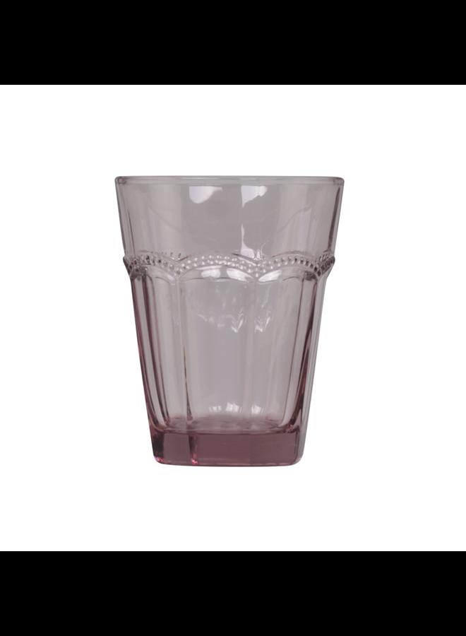 Trinkglas Antoinette mit Perlenkante - H11 - rosa