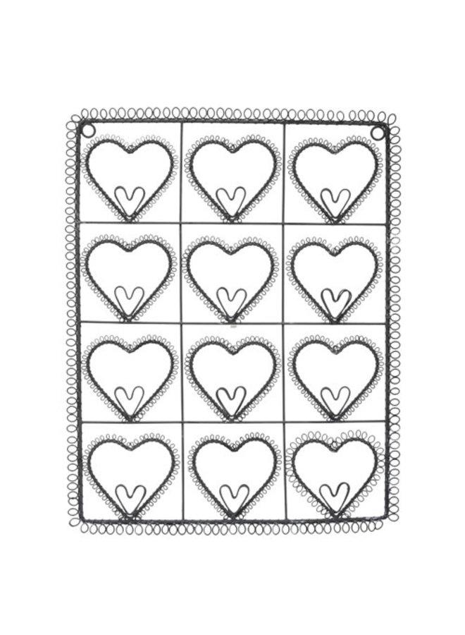 Fotohalter mit Herzen aus Draht - Grau
