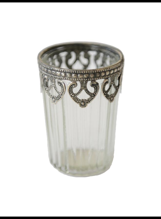 Teelichthalter Glas mit Ornamenten - Antiksilber