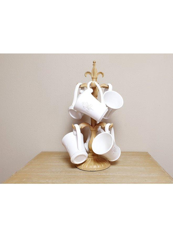 Porzellan Tassen (6) im Shabby Chic mit Ständer
