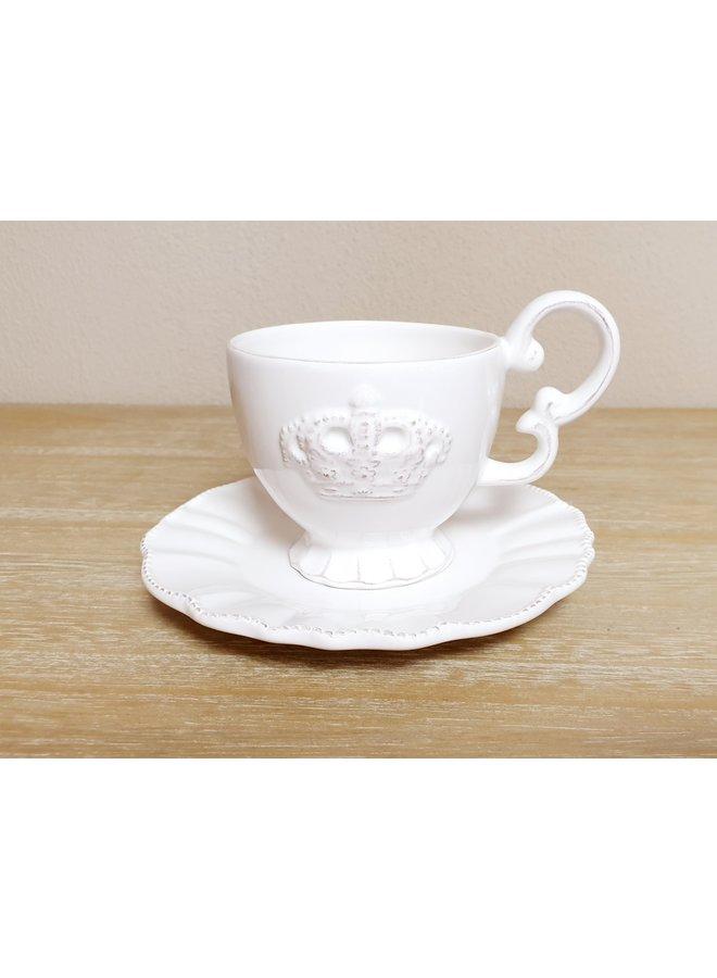 Porzellan Tassen & Unterteller (4) im Shabby Chic mit Ständer