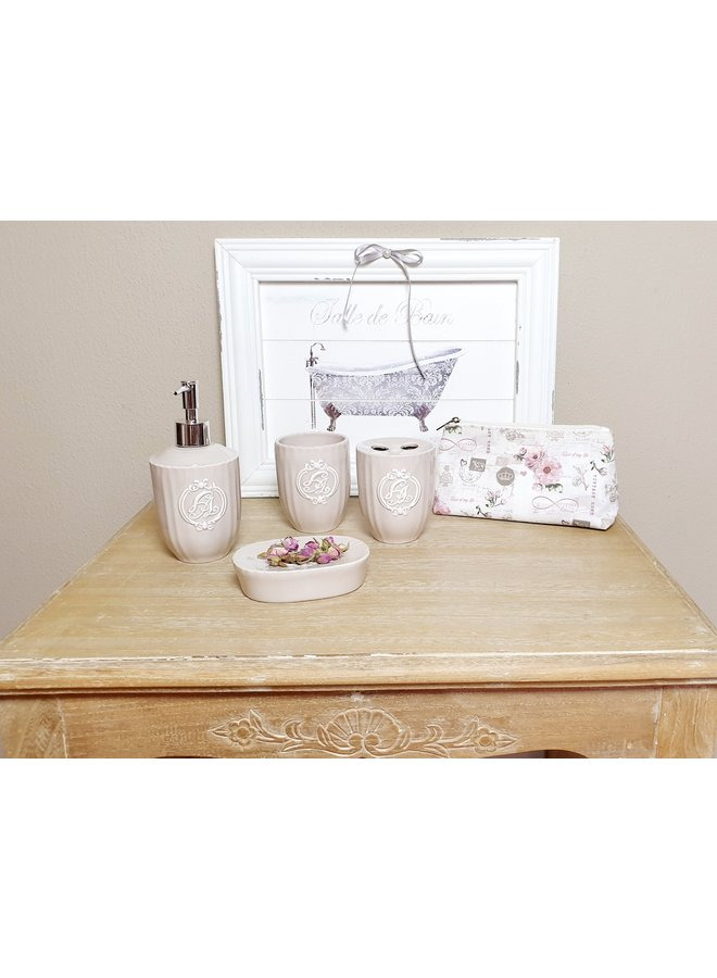 "Badezimmer-Set ""Camille"" im Shabby Chic in Taupe"