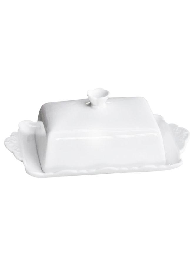 Butterdose Provence - 100% Porzellan Weiss