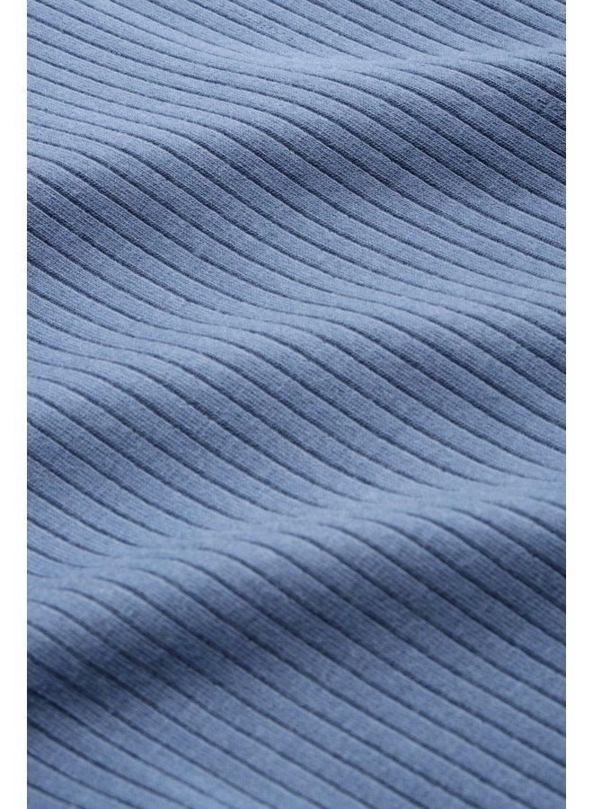 Rollkragen-Longsleeve - Rollneck Top Uni Rib Tencel - Bluestone Blue
