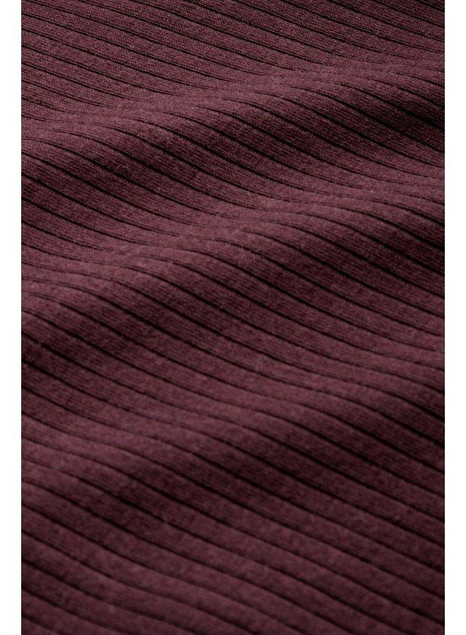 Rollkragen-Longsleeve - Rollneck Top Uni Rib Tencel - Grape Red