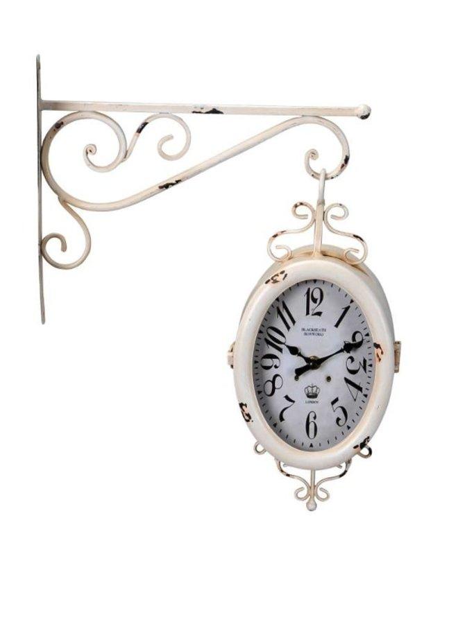Uhr mit Wandhalterung im Shabby Chic