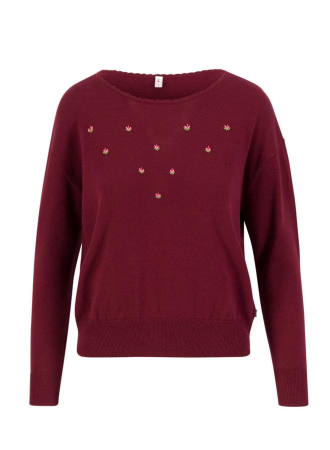 Pullover - rosebud pullover - romantic rumba red