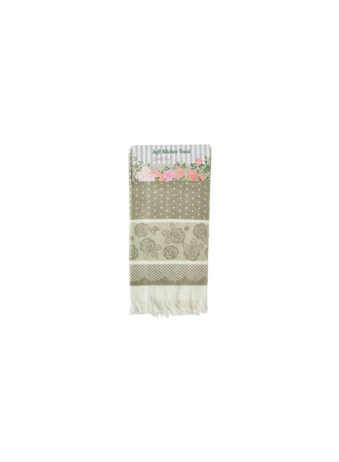 """Gästetuch """"Flower Beige"""" - 38x65 cm Baumwolle"""