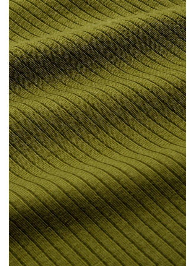 Rollkragen-Longsleeve - Rollneck Top Uni Rib Tencel -  Olive Green