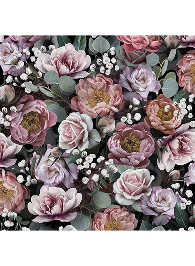 "Servietten ""Vintage Flowers Black"" - 30x30cm - FSC"