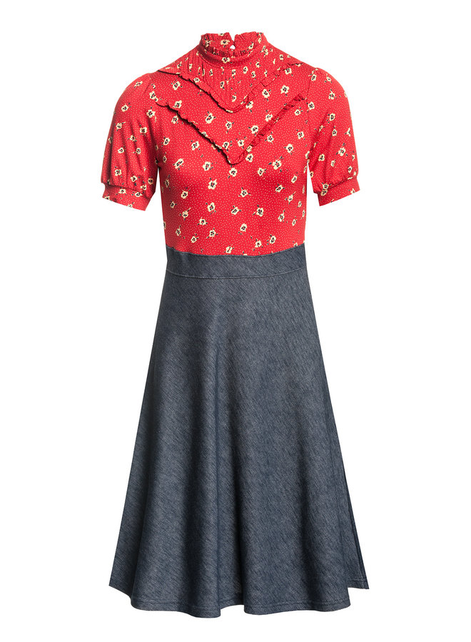 Kleid - Marie Mix Dress - red allover