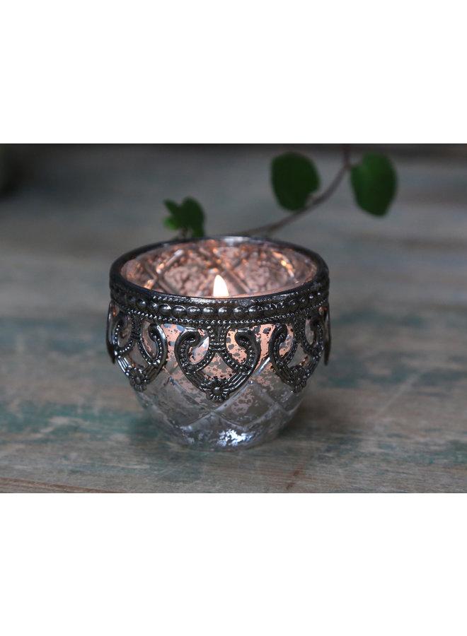 Teelichthalter Silber Dekoraus Glas - klein