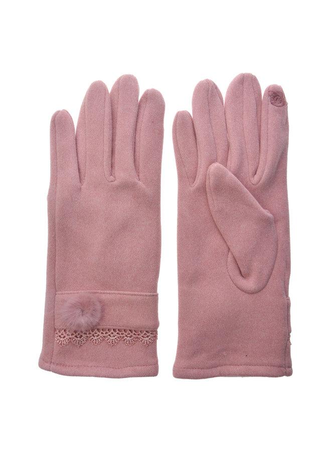 Handschuhe Rosa Spitze - mit Smartphone Touch