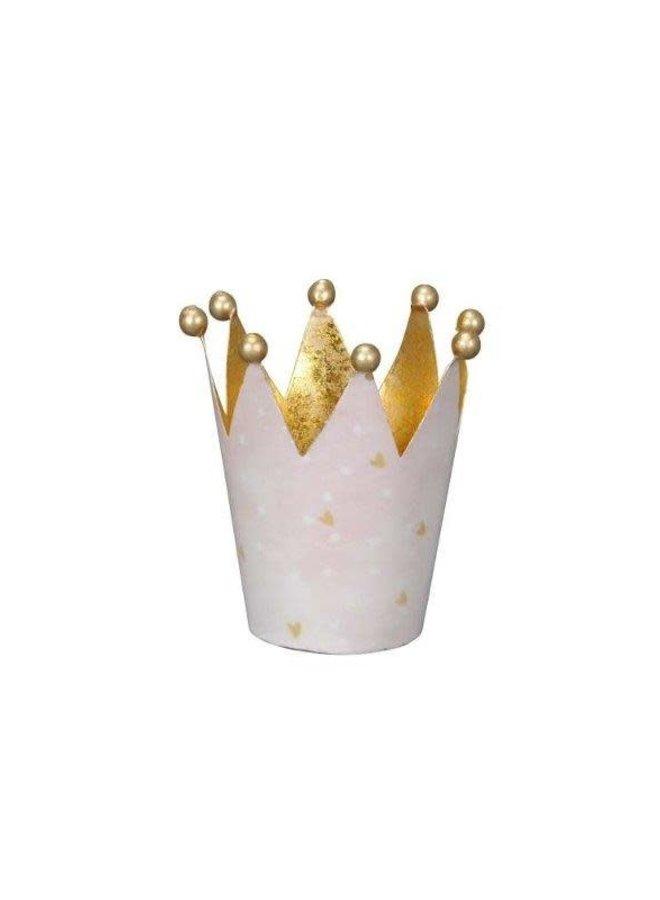 Windlicht Krone Rosa Gold - klein