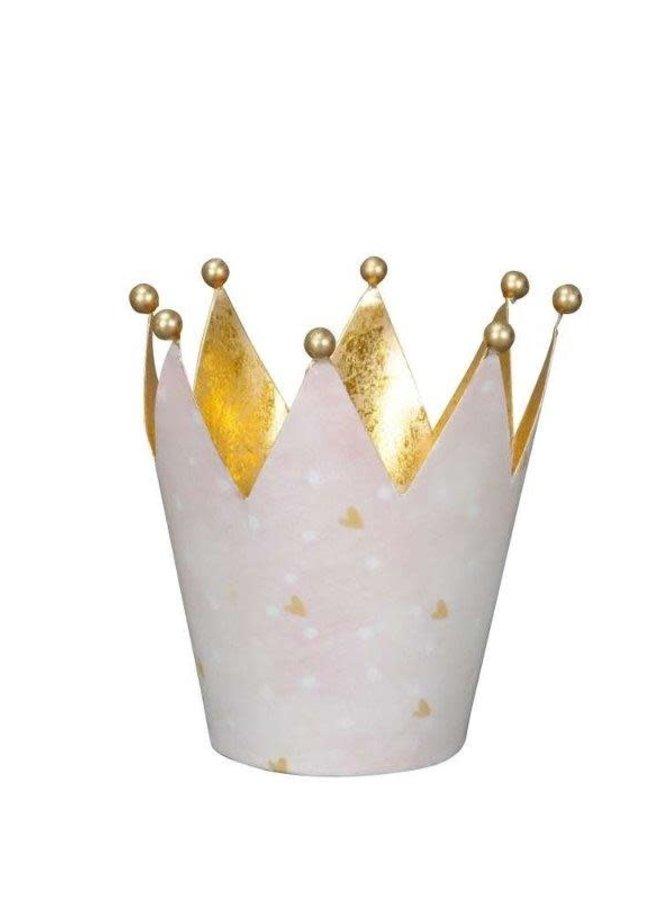 Windlicht Krone Rosa Gold - gross