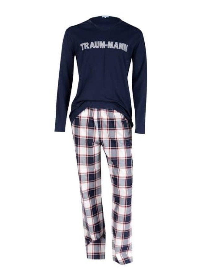"Pyjama Herren ""Traummann"", blau / flanell"