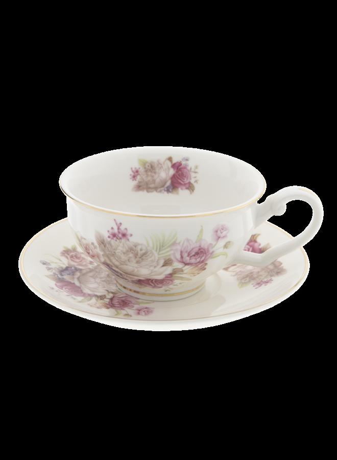 """Teetasse mit Unterteller """"Roses"""" aus 100% Porzellan"""