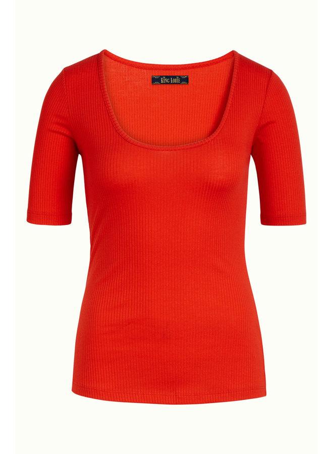 Basic Shirt - Carice Top Rib Tencel -  Fire Red