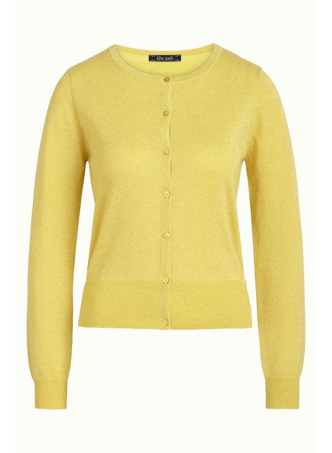 Cardigan - Cardi Roundneck Organic Lapis -  Lemon Yellow