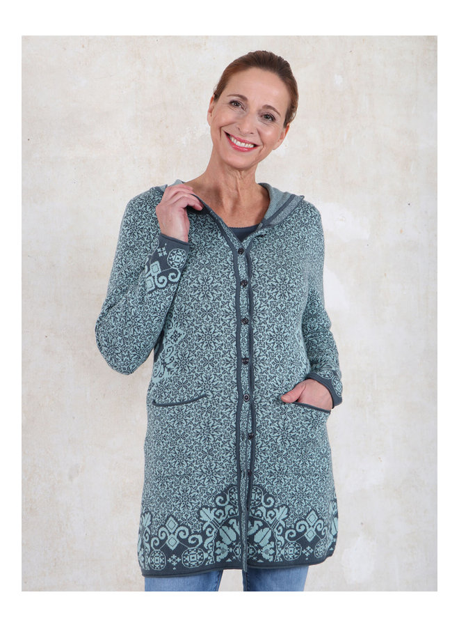 Strickmantel Annika - turquoise