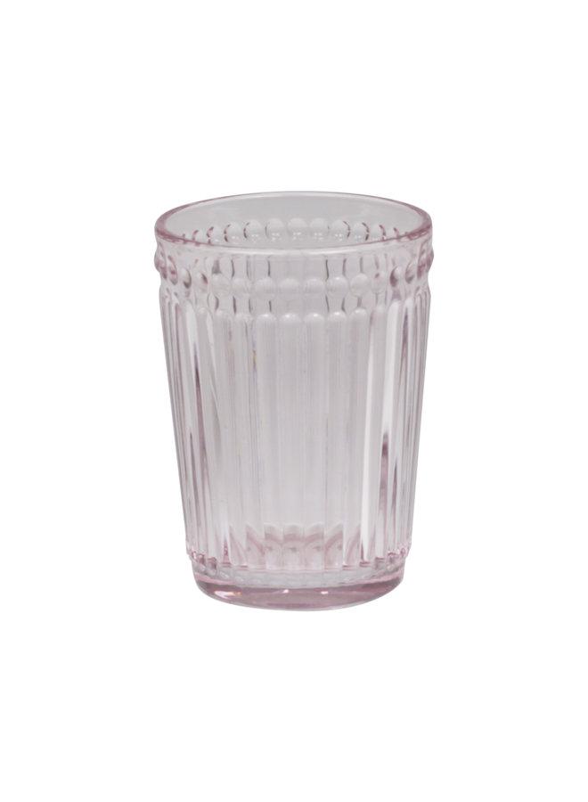 Zahnglas mit Perlenkante - Rosa