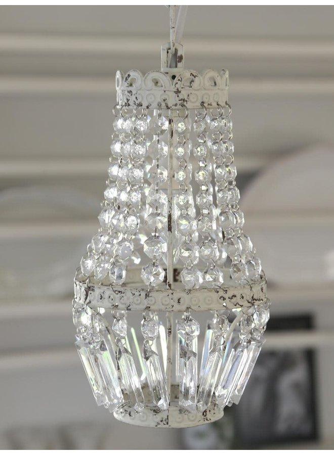 Kronleuchter klein mit Glasperlen - 14x26cm