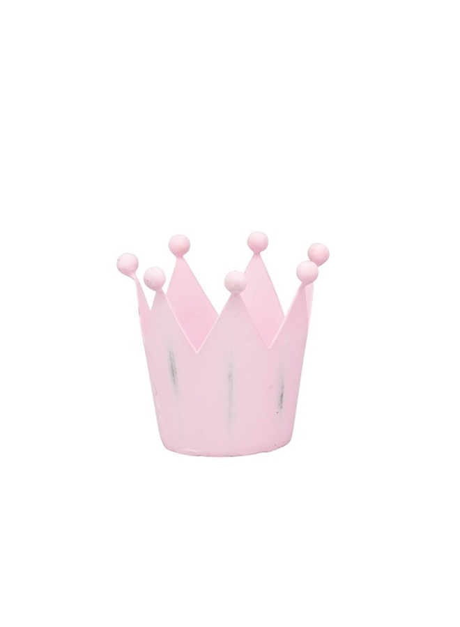 Windlicht Krone in Pastellrosa