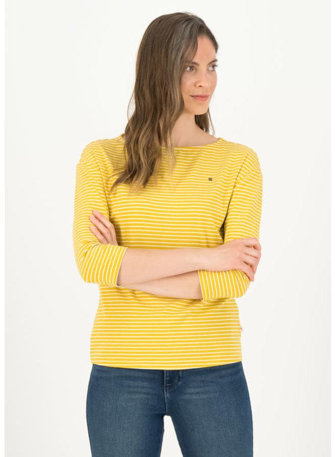 logo stripe 3/4 arm shirt - yellow tiny stripe