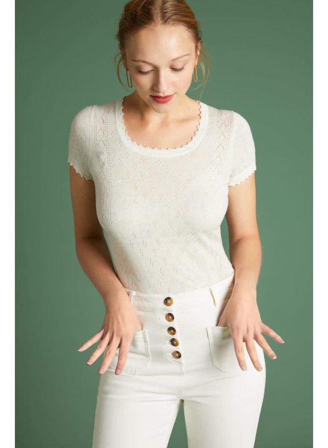 Shirt - Kiki Top Neps Ajour - Cloud White