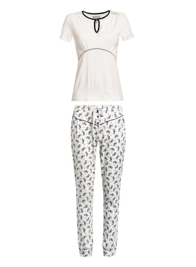 Nostalgie Ripp Damen Pyjama - creme allover