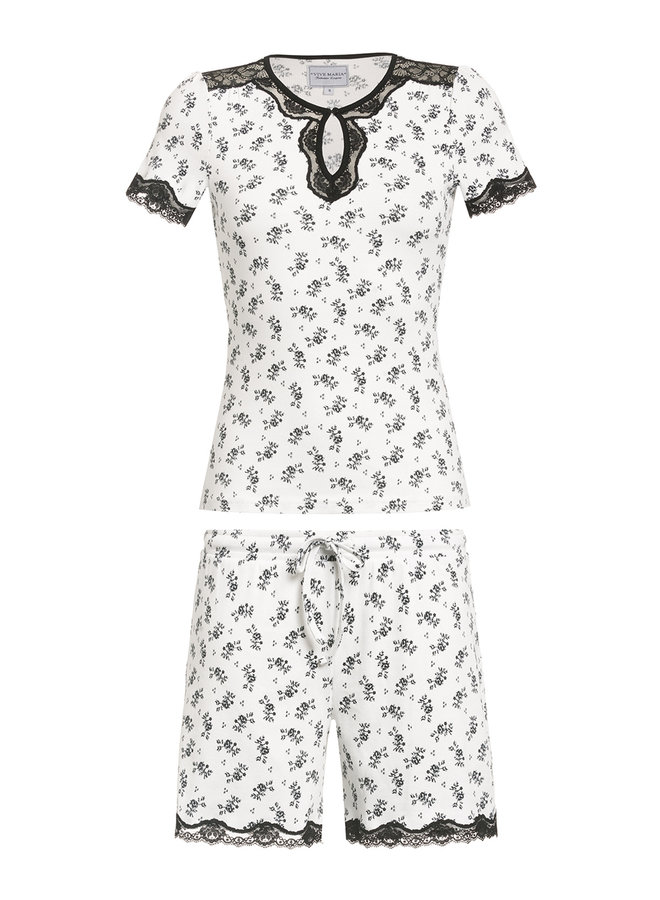 Nostalgie Night Damen Pyjama - creme allover