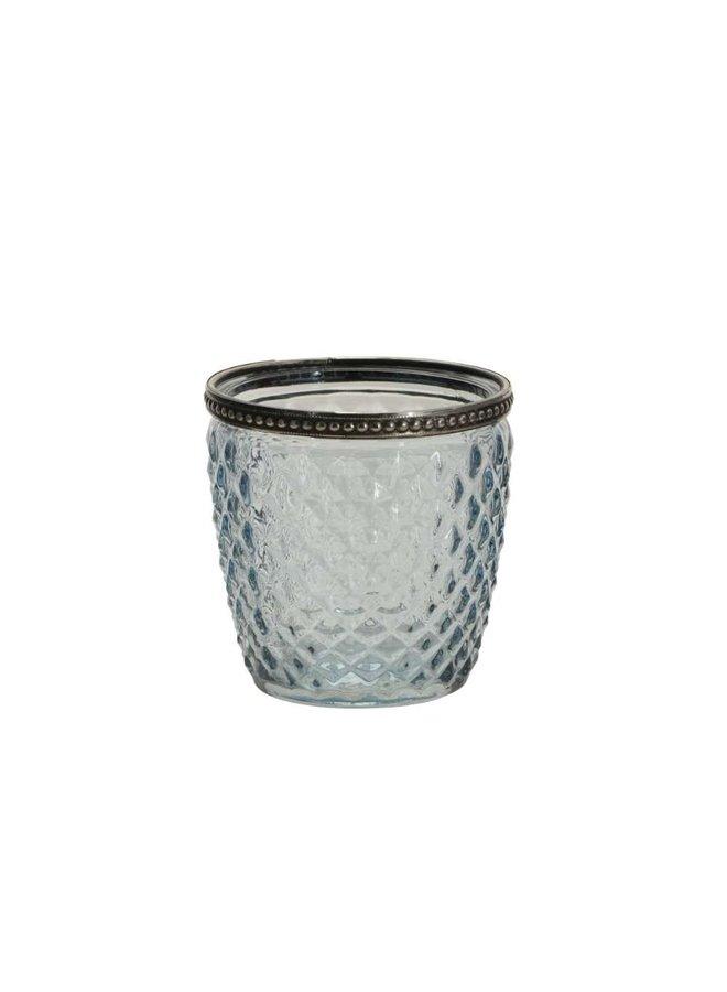 Windlicht mit Perlenkante - Türkis