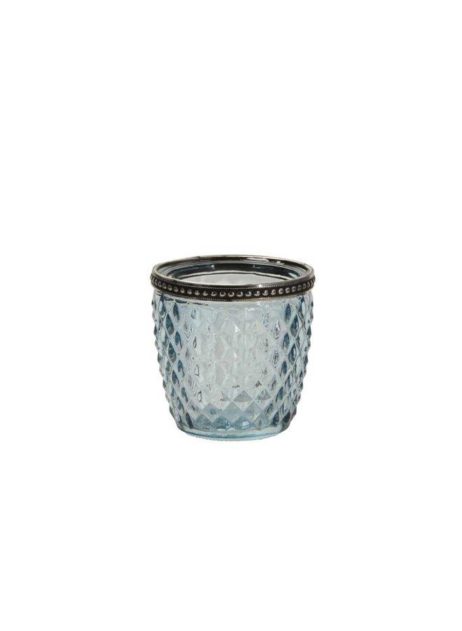 Windlicht mit Perlenkante - Klein - Türkis