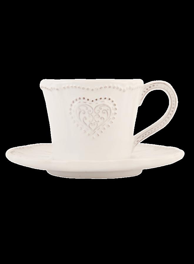Kaffeetasse mit Unterteller Provence - Heart - Weiss