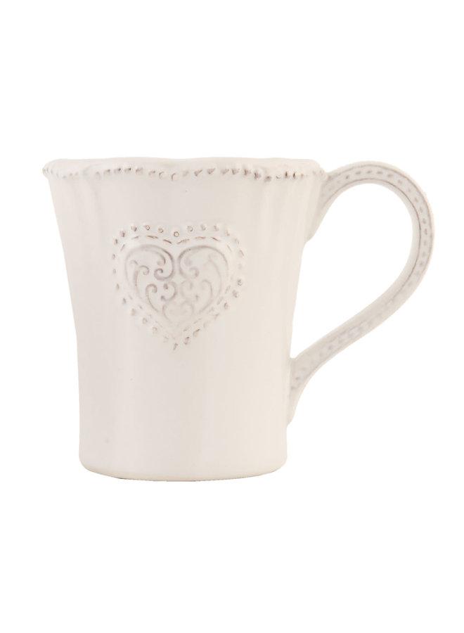 Kaffeetasse Provence - Heart - Weiss