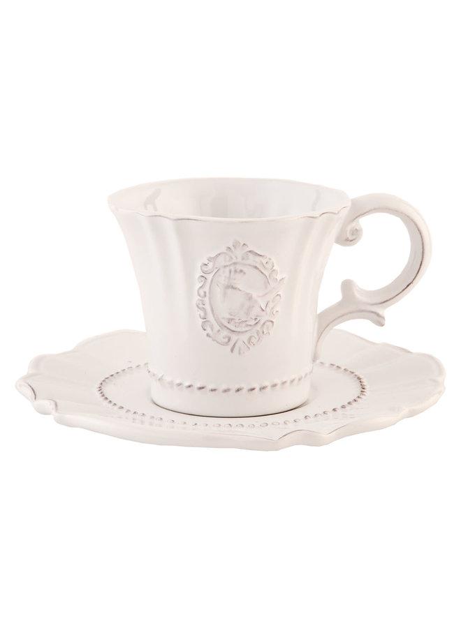 Espressotasse mit Unterteller Provence - Heart - Weiss
