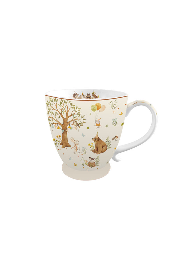 "Kaffeetasse aus Porzellan - ""Waldparty"""