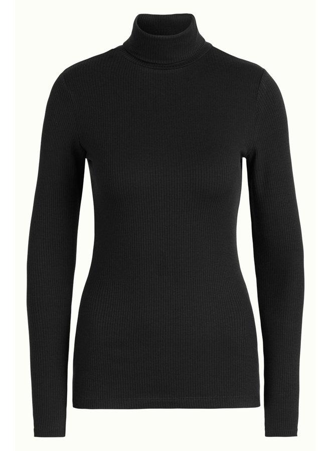 Longsleeve - Rollneck Top Uni Rib Tencel - Black