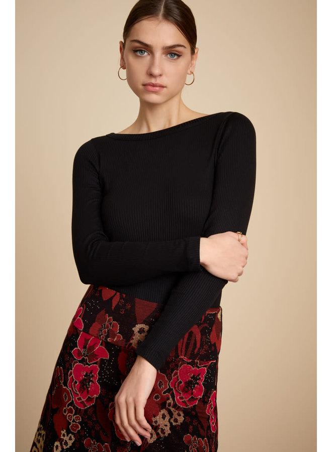 Longsleeve - Lily Top Uni Rib Tencel - Black