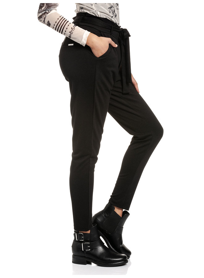 Preppy Paperbag Damen Webhose - schwarz